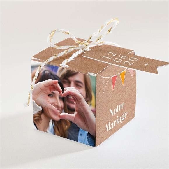 Boîte de dragées mariage Banderoles & Kraft réf.N34090