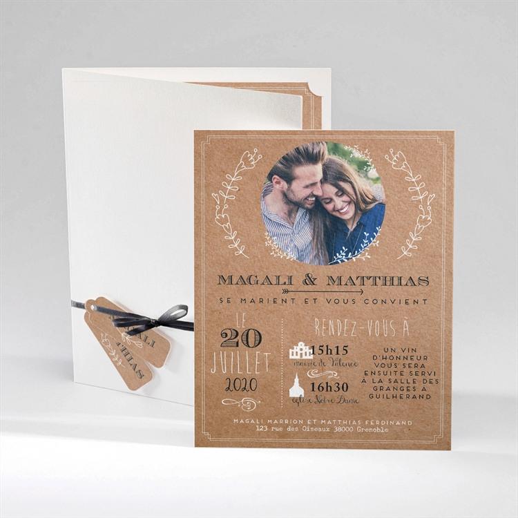 Faire-part mariage Kraft vintage réf.N92037