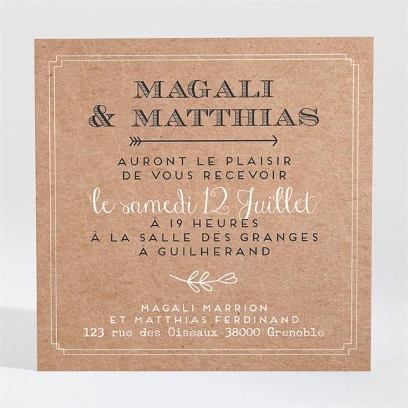 Carton d'invitation mariage Kraft vintage réf.N3001365