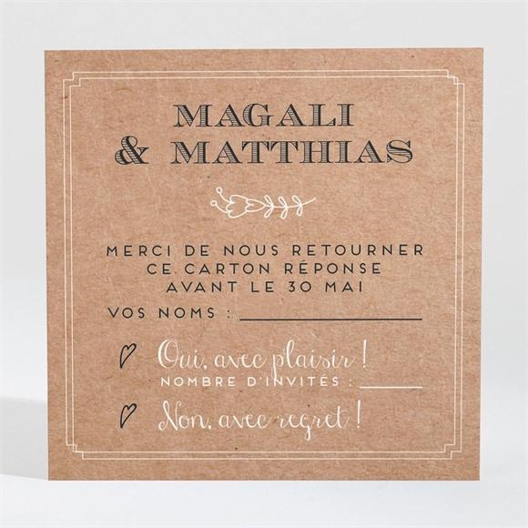 Carton réponse mariage Kraft vintage réf.N3001366
