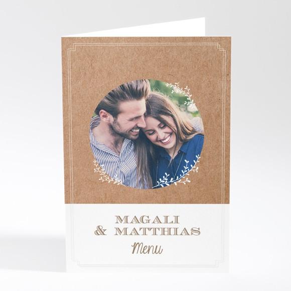 Menu mariage Kraft vintage réf.N401788