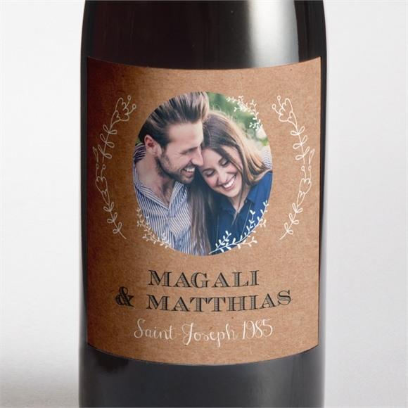 Etiquette de bouteille mariage Kraft vintage réf.N3001367