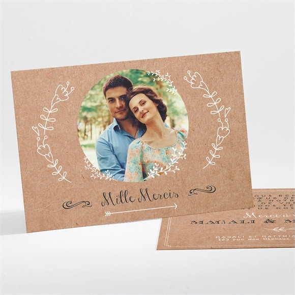 Remerciement mariage Kraft vintage réf.N111192