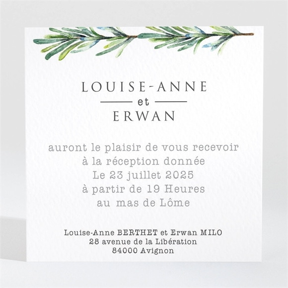 Carton d'invitation mariage Poésie et photo réf.N3001375