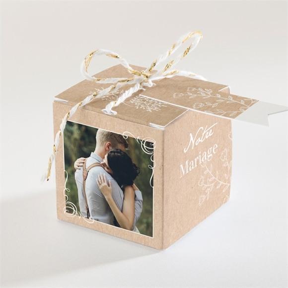 Boîte de dragées mariage Typo & Kraft réf.N34096
