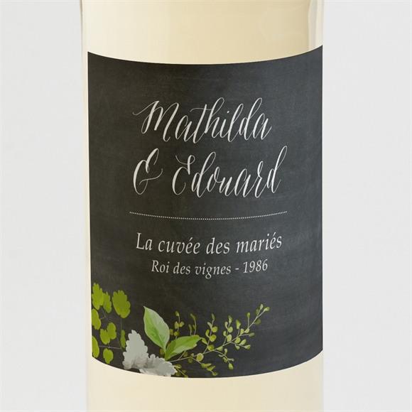 Etiquette de bouteille mariage Couronne en ardoise réf.N3001388