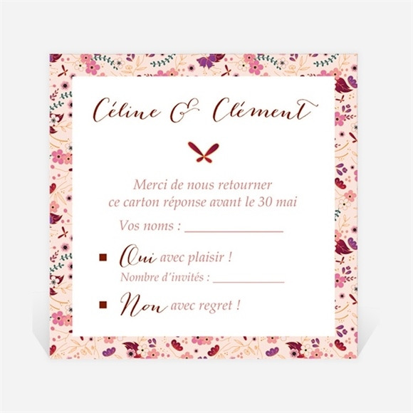 Carton réponse mariage Esperluette Liberty réf.N3001391