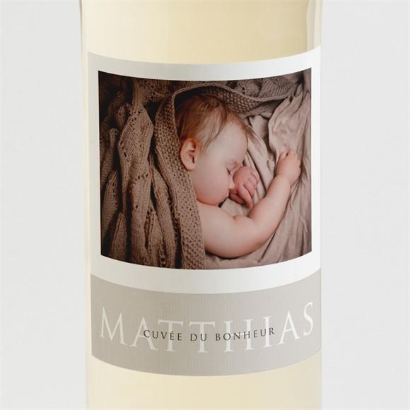 Etiquette de bouteille naissance 3 délicates photos réf.N3001399
