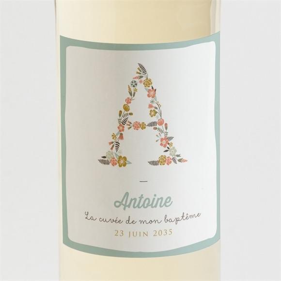 Etiquette de bouteille baptême Alphabet original réf.N3001404