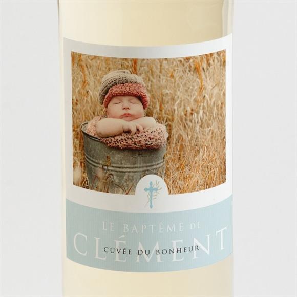 Etiquette de bouteille baptême Filigrane pastel réf.N3001406