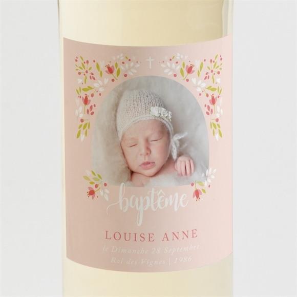 Etiquette de bouteille baptême Douceur végétale rose réf.N3001410