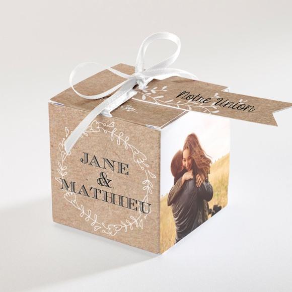 Boîte de dragées mariage Kraft en folie réf.N340112