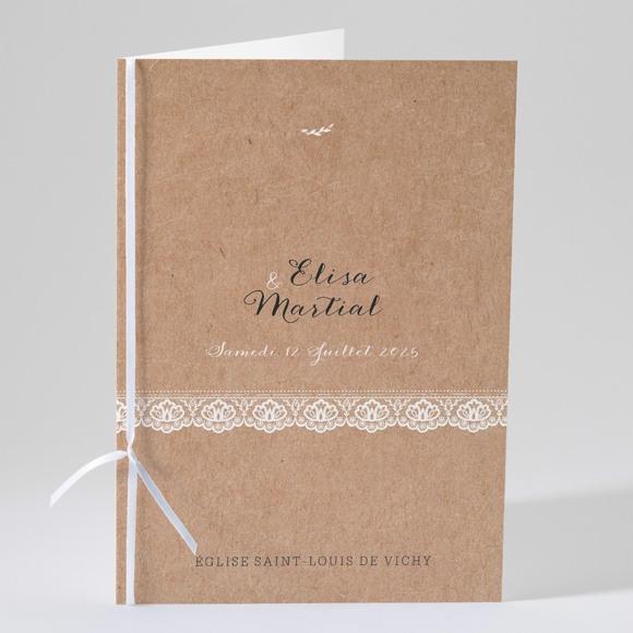 Livret de messe mariage Kraft et dentelle réf.N49110