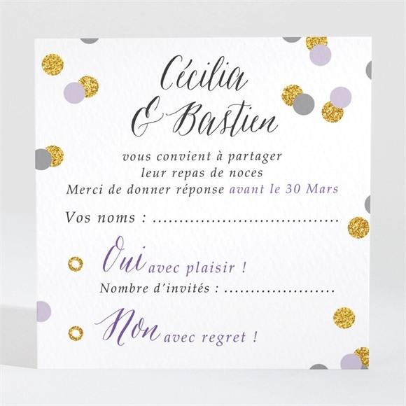 Carton réponse mariage Doux confettis réf.N3001416