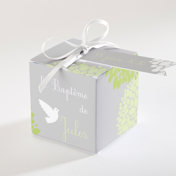 Boîte de dragées baptême Cadre végétal chic réf.N340121