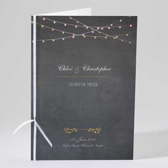 Livret de messe mariage Ardoise élégante et étiquettes réf.N49144
