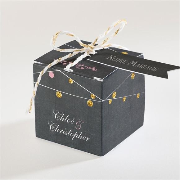 Boîte de dragées mariage Ardoise élégante et étiquettes réf.N340125