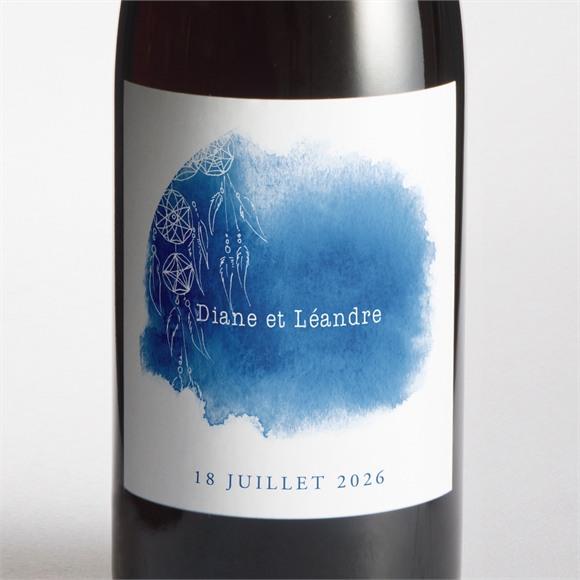 Etiquette de bouteille mariage Perle d'Aquarelle réf.N3001436