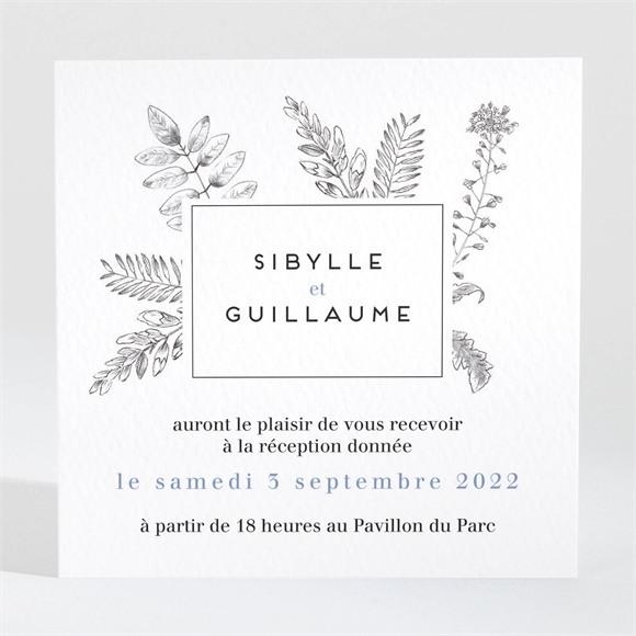 Carton d'invitation mariage Gravure florale réf.N3001445