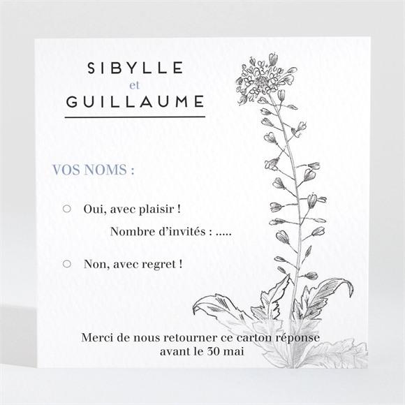 Carton réponse mariage Gravure florale réf.N3001446