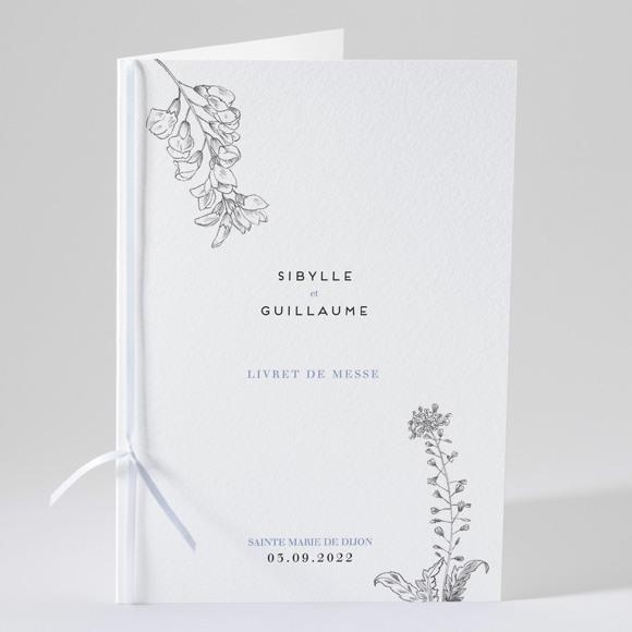 Livret de messe mariage Gravure florale réf.N49156