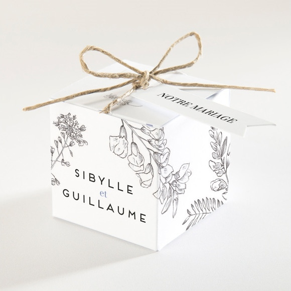 Boîte de dragées mariage Gravure florale réf.N340133