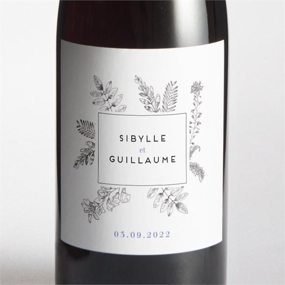 Etiquette de bouteille mariage Gravure florale réf.N3001447