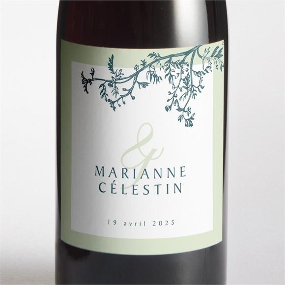 Etiquette de bouteille mariage Gravure chic réf.N3001453