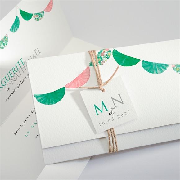 Faire-part mariage Vert et rose réf.N94103