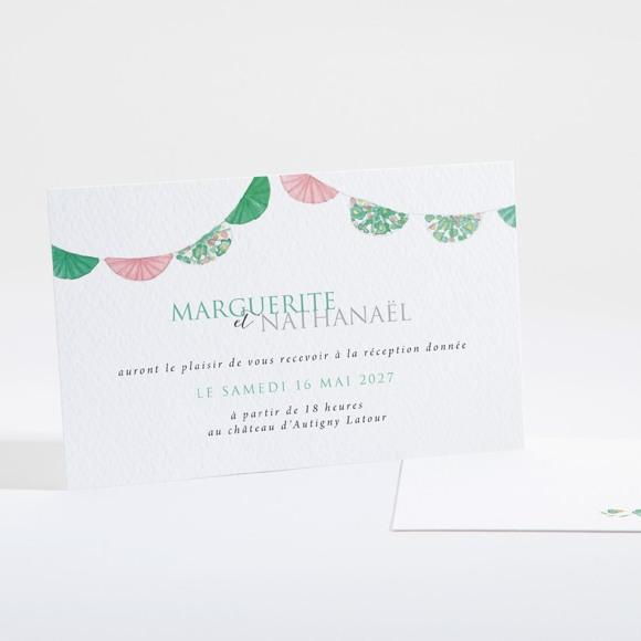 Carton d'invitation mariage Vert et rose réf.N16125
