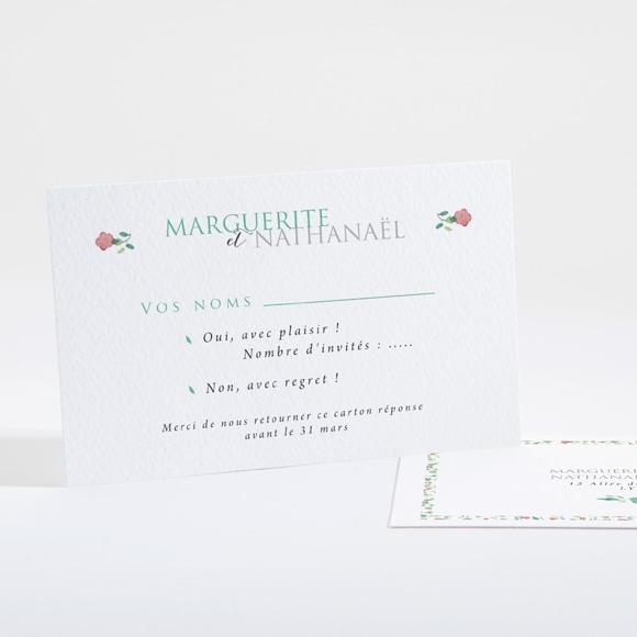 Carton réponse mariage Vert et rose réf.N16126
