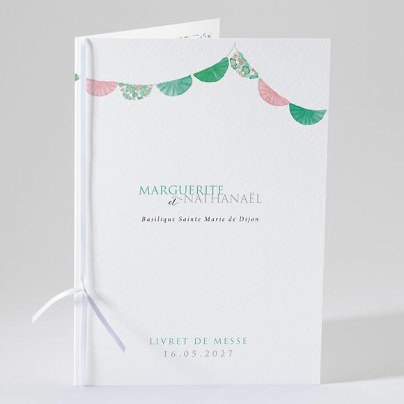 Livret de messe mariage Vert et rose réf.N49162