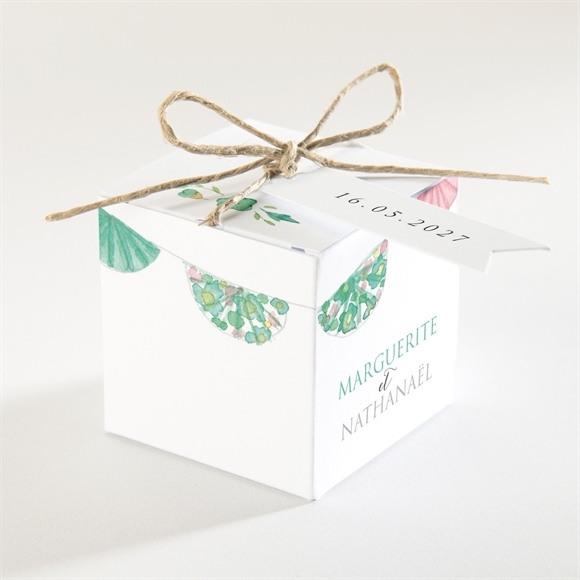 Boîte de dragées mariage Vert et rose réf.N340137