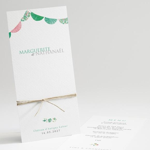 Menu mariage Vert et rose réf.N22153