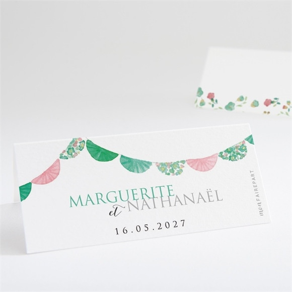Marque-place mariage Vert et rose réf.N440675