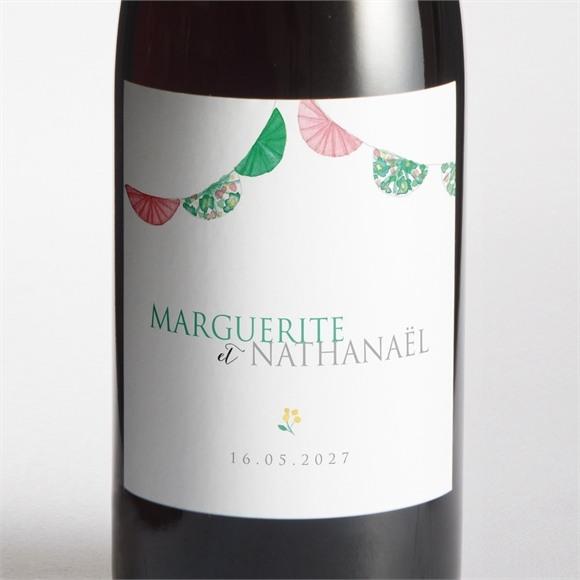 Etiquette de bouteille mariage Vert et rose réf.N3001459