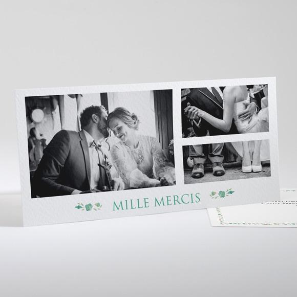 Remerciement mariage Vert et rose réf.N13174