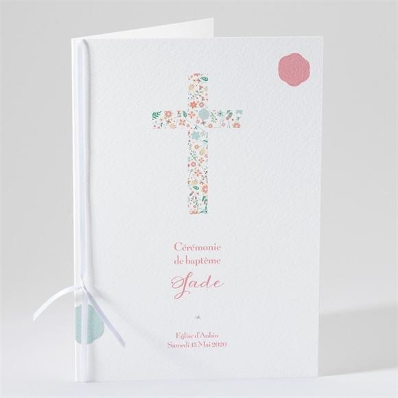 Livret de messe baptême Croix à motifs et pois réf.N49165