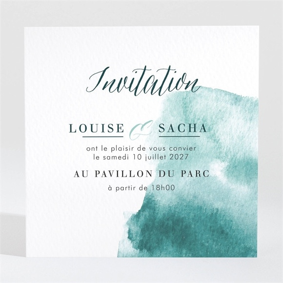 Carton d'invitation mariage Aquarelle verte réf.N3001469