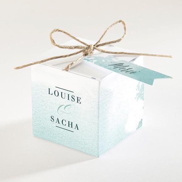 Boîte de dragées mariage Aquarelle verte réf.N340141