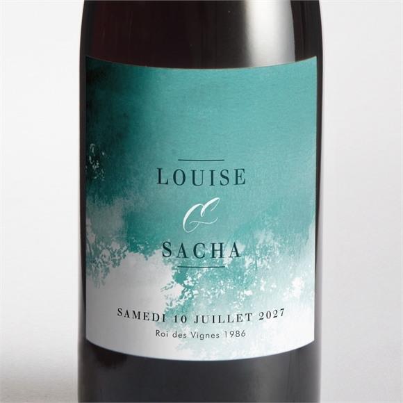 Etiquette de bouteille mariage Aquarelle verte réf.N3001471