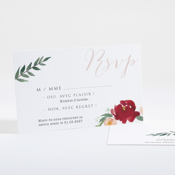 Carton réponse mariage Jolis coquelicots réf.N16130