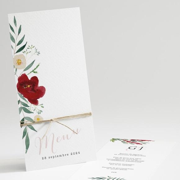 Menu mariage Jolis coquelicots réf.N22157