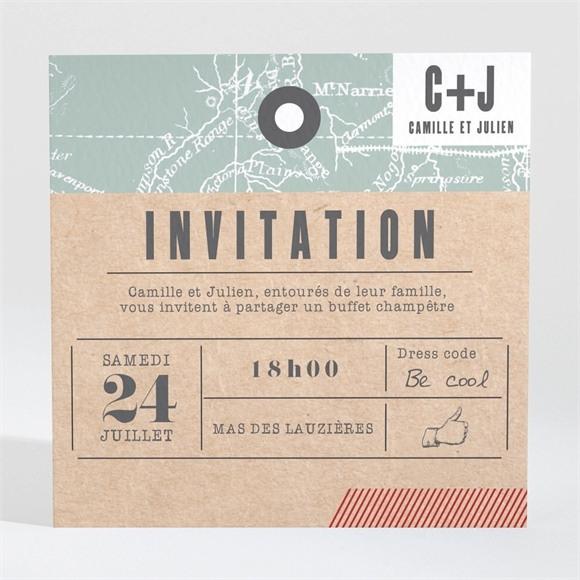 Carton d'invitation mariage Voyage voyage réf.N3001478