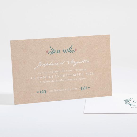 Carton d'invitation mariage Kraft naturel réf.N16103