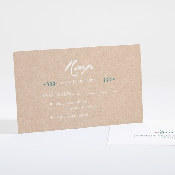 Carton réponse mariage Kraft naturel réf.N16104