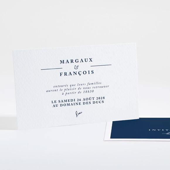 Carton d'invitation mariage Bleu romantique réf.N16119