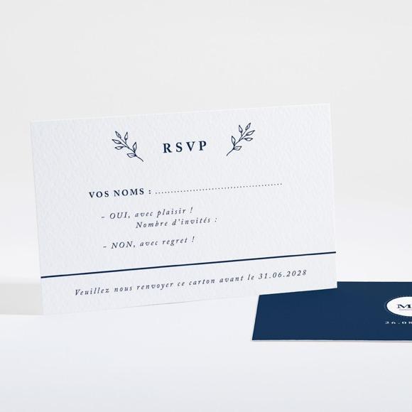 Carton réponse mariage Bleu romantique réf.N16120