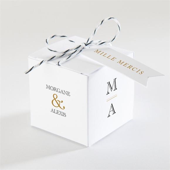 Boîte de dragées mariage Lettre moderne réf.N340149