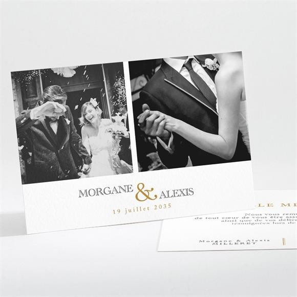 Remerciement mariage Lettre moderne réf.N111233